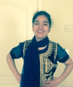 Sareen dressing up in Mom's Desi garb.